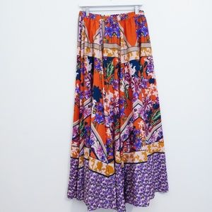 Cupio Skirts - CUPIO BOHO ORANGE & PURPLE FLORAL MAXI SKIRT